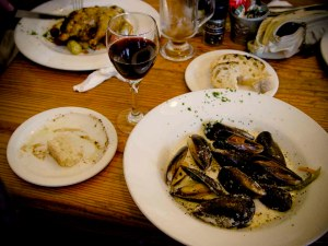Olympia Cafe's mussels. The murderous waitress is hiding behind the pepper.